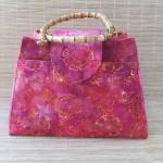 Custom made knitting bag with bamboo handles