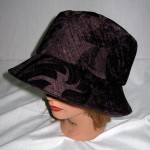One of a kind, handmade hat, purple damask, bucket hat, sophisticated bucket hat, Pip 'n' Milly Creations, handmade hat in purple damask with downturned brim