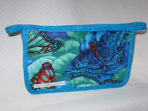 WIP pouch in blue butterfly print