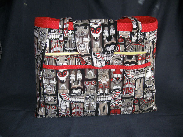 Custom knitting bag in totem pole fabric