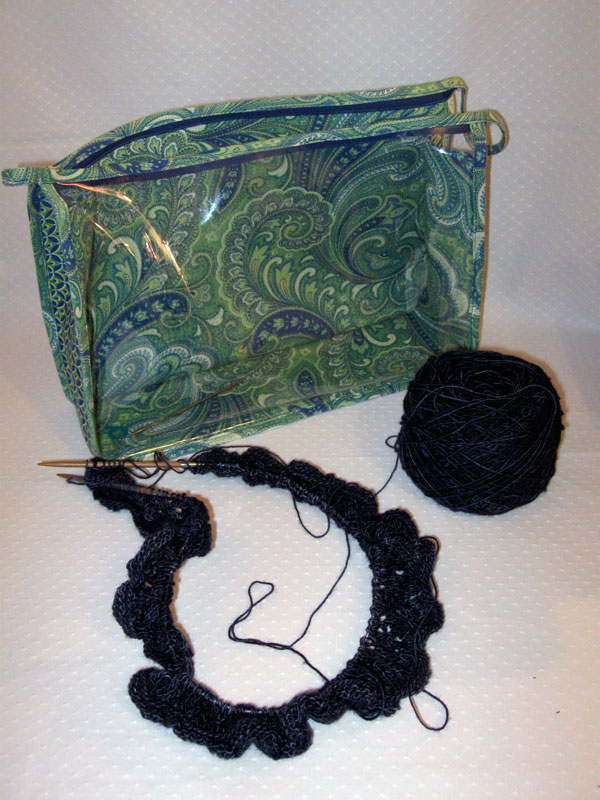 Large knitting project pouch with shawl