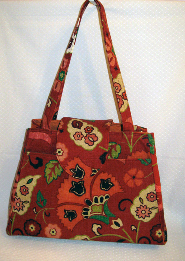 Red floral knitting bag