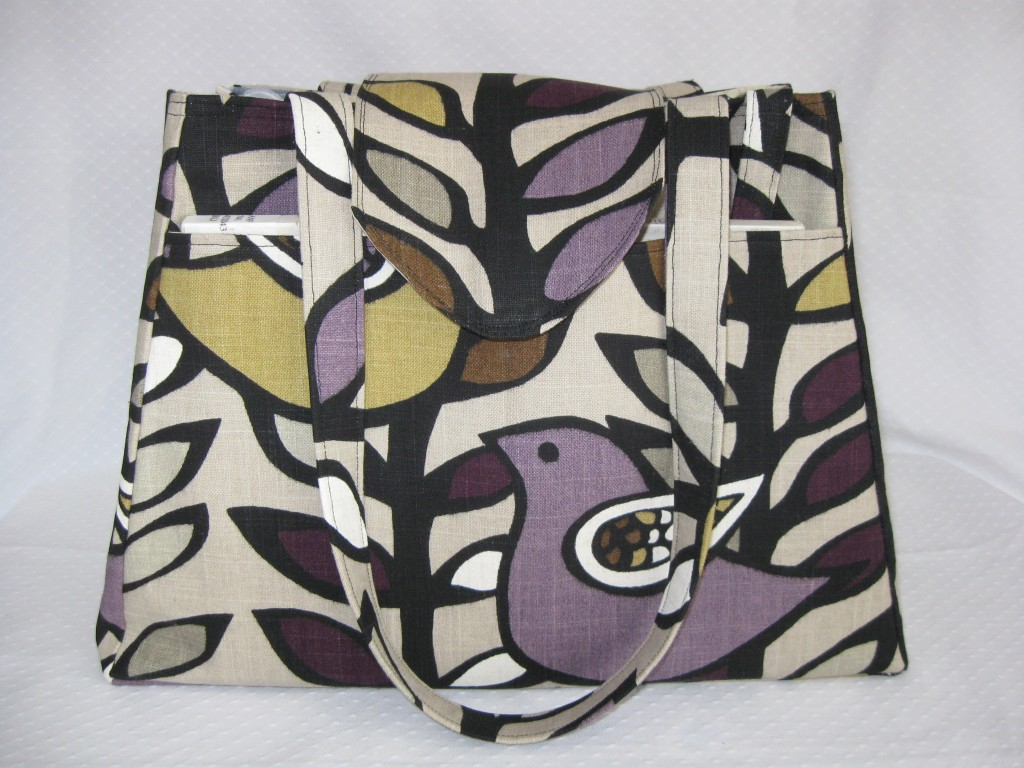 Knitting bag in a fabulous bird and leaf print in shades of purple, mustard, cream and black