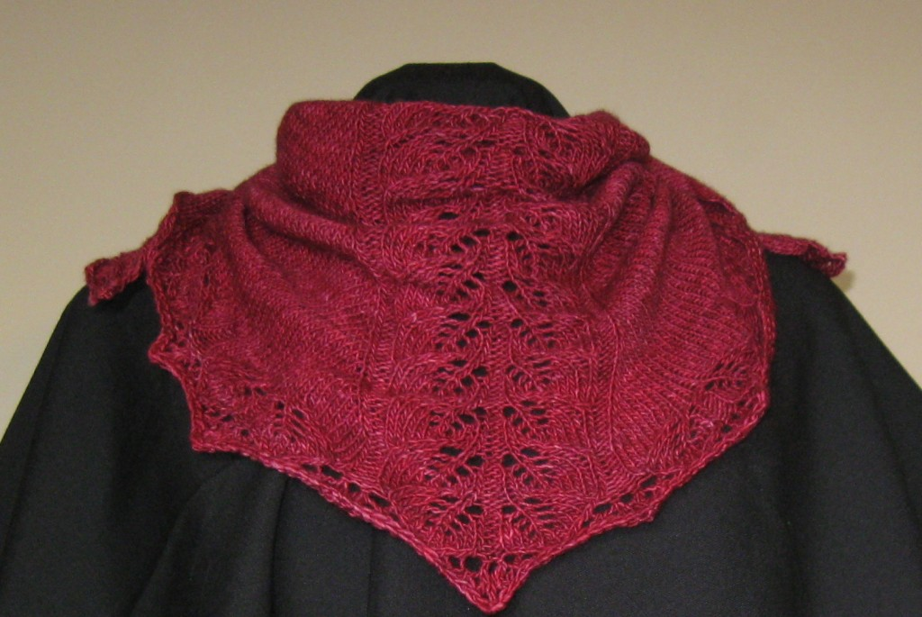 "Dolcetto shawl in ""Vermillion"" by Madeline Tosh"