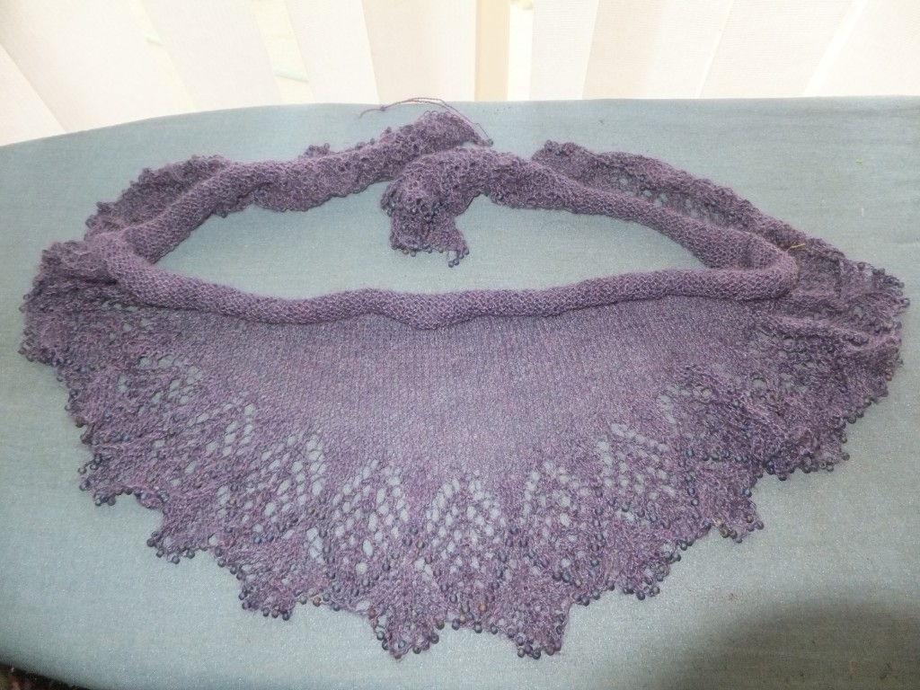 Abrazo shawl, before blocking