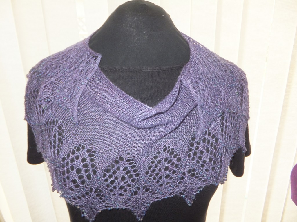 Beaded Abrazo shawl, finished