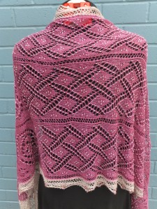 Pink wrap, knit in SeaSilk Lace from SweetGeorgia Yarns