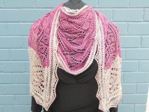 Edging the Pink wrap, knit in 2 colours of SeaSilk Lace from SweetGeorgia Yarns