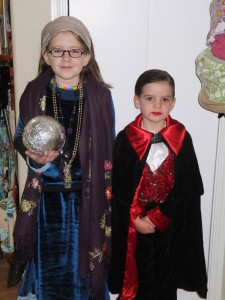 Halloween costumes, Professor Trelawney and a vampire