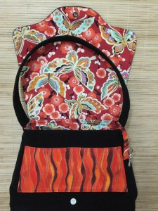 Interior of black shoulder bag